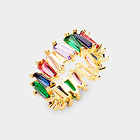 Gold Dipped Colorful Cubic Zirconia Ring