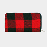 Buffalo Check Zipper Wallet
