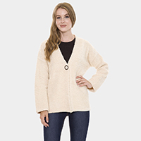 Chunky Solid Color Pockets Sweater Cardigan