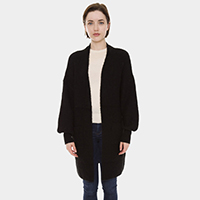 Solid Color Pockets Balloon Sleeve Cardigan