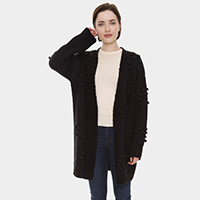 Knitted Solid Color Pom Pom Long Sleeve Cardigan