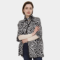 Zebra Pattern Metallic Hook Sweater/Poncho