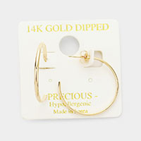 14K Gold Dipped Hypoallergenic Flat Hoop Earrings