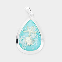Sea Glass Starfish Teardrop Metal Pendant