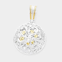 Floral Cut Out Metal Magnetic Pendant