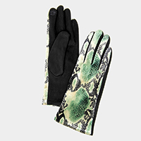 Snake Pattern Print Smart Gloves