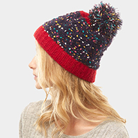 Multi Color Sprinkles Pom Pom Beanie Hat