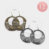 12Pcs - Antique Pattern Filigree Open Circle Dangle Earrings
