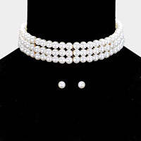 3 Row Pearl Chocker Necklace