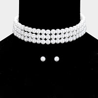 3 Row Pearl Choker Necklace