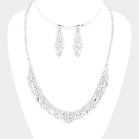 Crystal Rhinestone Marquise Accented Pave Drop Necklace