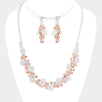 Teardrop Crystal Accented Rhinestone Pave Necklace