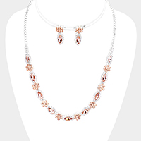 Crystal Marquise Rhinestone Pave Flower Necklace