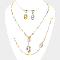 Pearl Rhinestone Oval Accented Pave Necklace Jewelry Set
