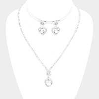 Heart Crystal Rhinestone Pave Necklace