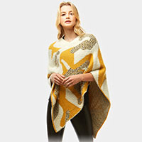 Abstract Pattern Chenille Poncho