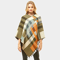 Multi Colored Plaid Poncho