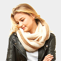 Striped Faux Fur Infinity Scarf