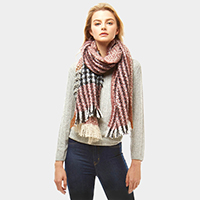 Multi Color Plaid Oblong Scarf