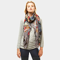 Multi Color Leaves Print Oblong Scarf