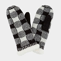 SHERPA BUFFALO PLAID MITTEN GLOVES