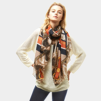 Snake Skin and Chain Print Oblong Scarf