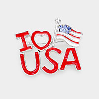 Enamel Patriotic Flag 'I Love USA' Pin Brooch