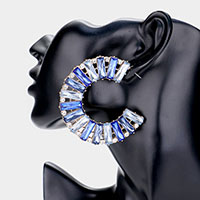 Rectangle Glass Crystal Rhinestone Statement Earrings