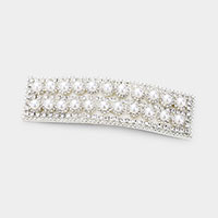 Pearl Rhinestone Pave Statement Snap Hair Clip