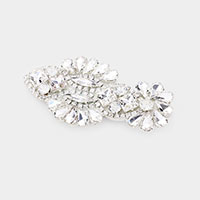 Floral Crystal Rhinestone Pave Snap Alligator Clip