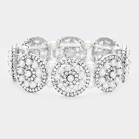 Pearl Rhinestone Floral Pave Stretch Bracelet
