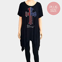 'Blessed' Cross Crystal Plus Size Embellished Top