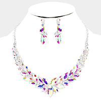 Marquise Oval Crystal Statement Evening Necklace