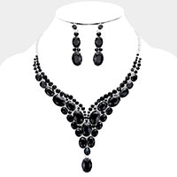 Crystal Statement Drop Evening Necklace