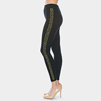 Greek Pattern Rhinestone Pave Lines Detail Leggings
