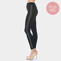 Greek Pattern Rhinestone Pave Lines Plus Size Detail Leggings