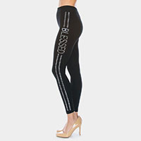 'Blessed' Rhinestone Pave Lines Detail Leggings