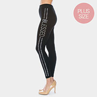 'Blessed' Rhinestone Pave Lines Plus Size Detail Leggings