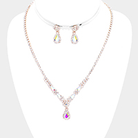 Floral Teardrop Detail Rhinestone Necklace