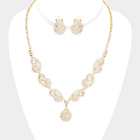 Crystal Rhinestone Pave Necklace Clip On Earring Set