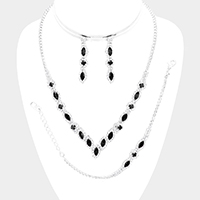 Marquise Crystal Rhinestone Pave Drop Necklace Jewelry Set