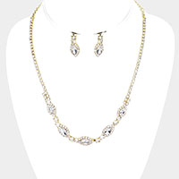 Crystal Marquise Rhinestone Pave Necklace