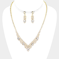 Crystal Marquise Rhinestone Pave Drop V Necklace