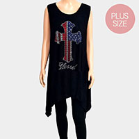 'Blessed' Cross Crystal Embellished Plus Size Sleeveless Top