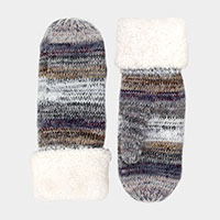 Multi Color Stripe Mitten Gloves