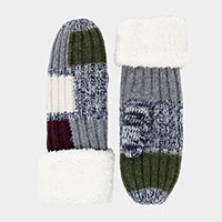 Multi Colored Square Pattern Mitten Gloves