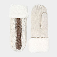 Two Tone Cable Knit Mitten Gloves