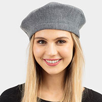 Stretchy Solid Beret Hat