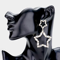 Double Star Square Stone Metal Drop Earrings