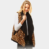 Animal Print Faux Fur Linning Vest